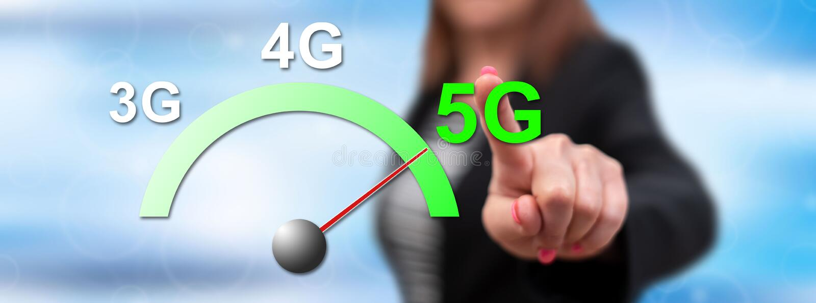 Woman touching a 5g concept royalty free stock images