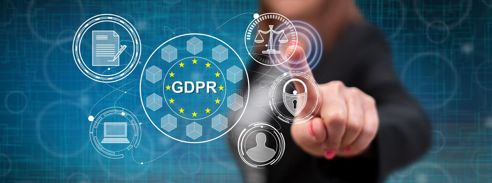 Woman touching a gdpr concept stock images