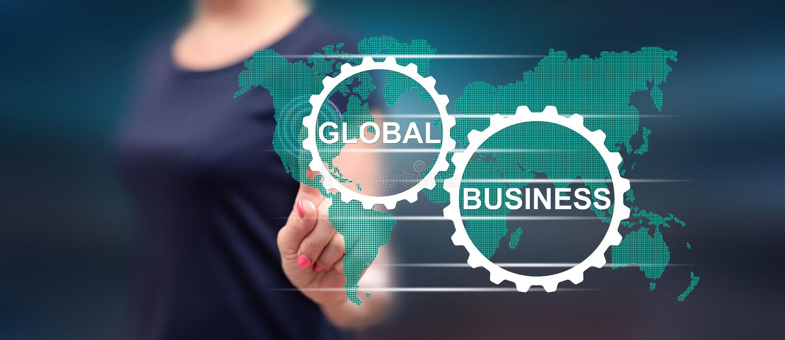 Woman touching a global business concept stock photos
