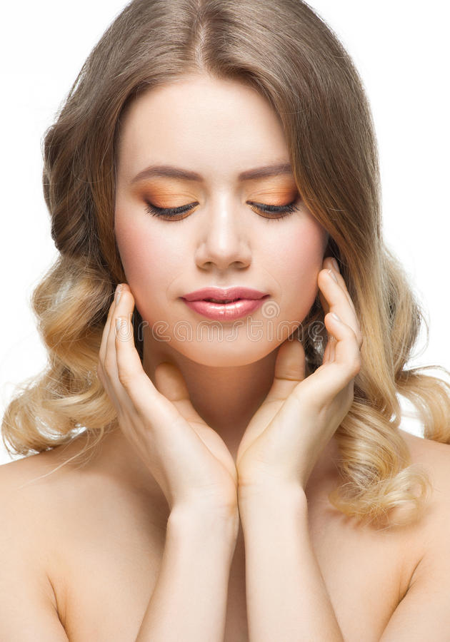 Download Woman touching her face stock photo. Image of face, clear - 24544540