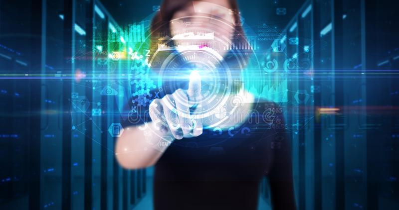 Woman touching hologram screen royalty free stock photo