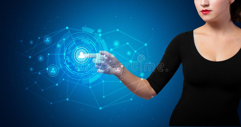Woman touching hologram security symbol royalty free stock photo