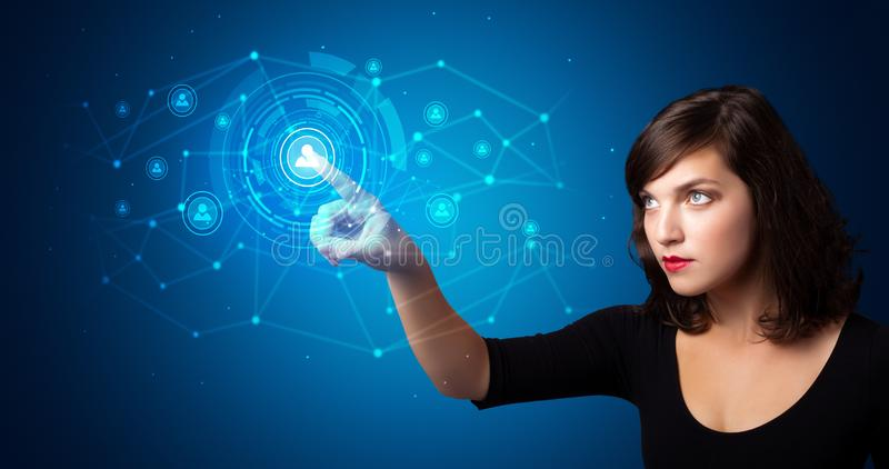 Woman touching hologram security symbol royalty free stock image