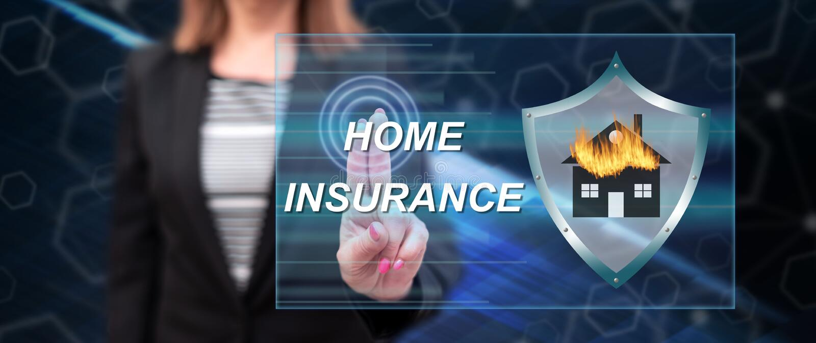 Woman touching a home insurance concept stock photo