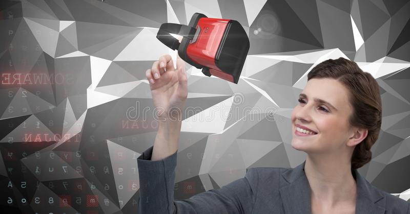 Woman touching and interacting with virtual reality headset with transition effect royalty free stock photography