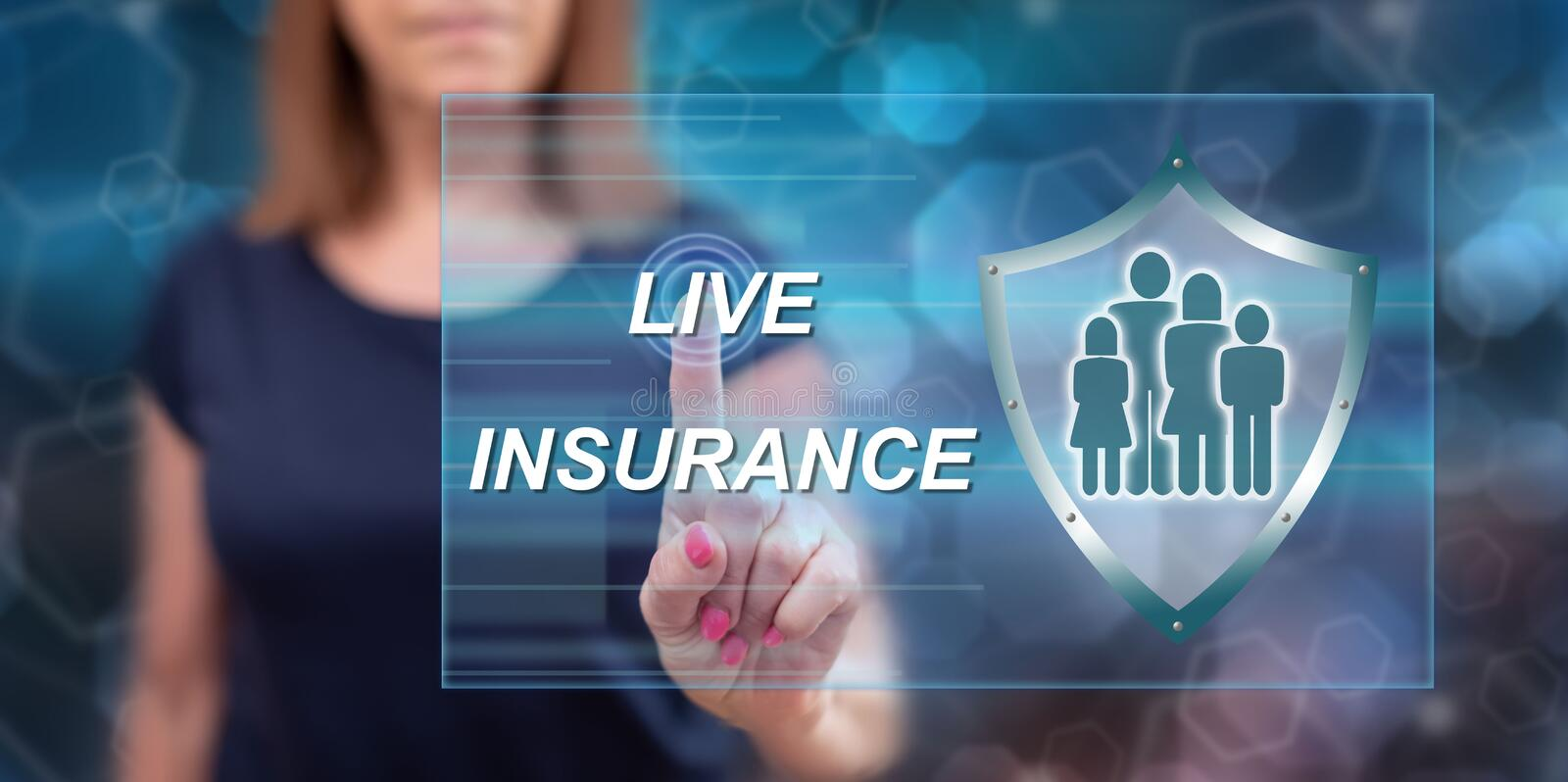 Woman touching a life insurance concept royalty free stock photo