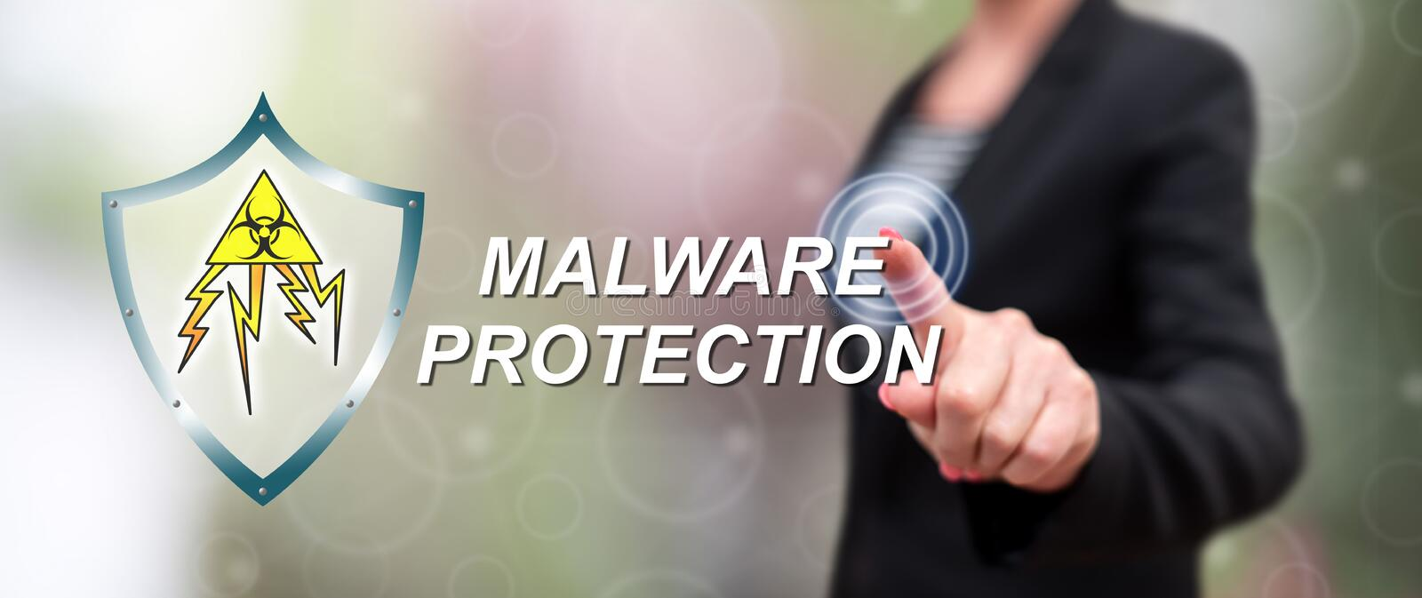 Woman touching a malware protection concept stock image