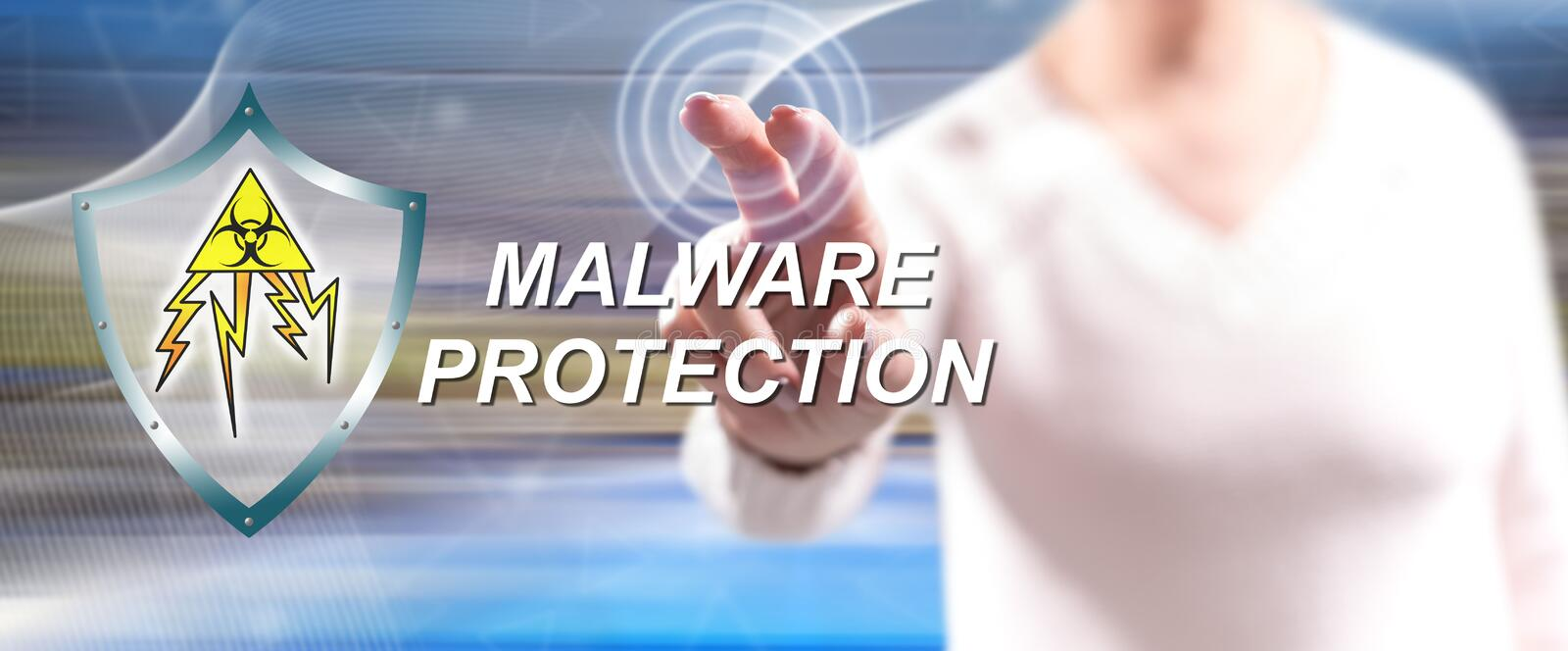Woman touching a malware protection concept royalty free stock photo