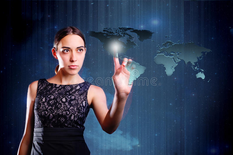 Woman touching map of earth royalty free stock photos
