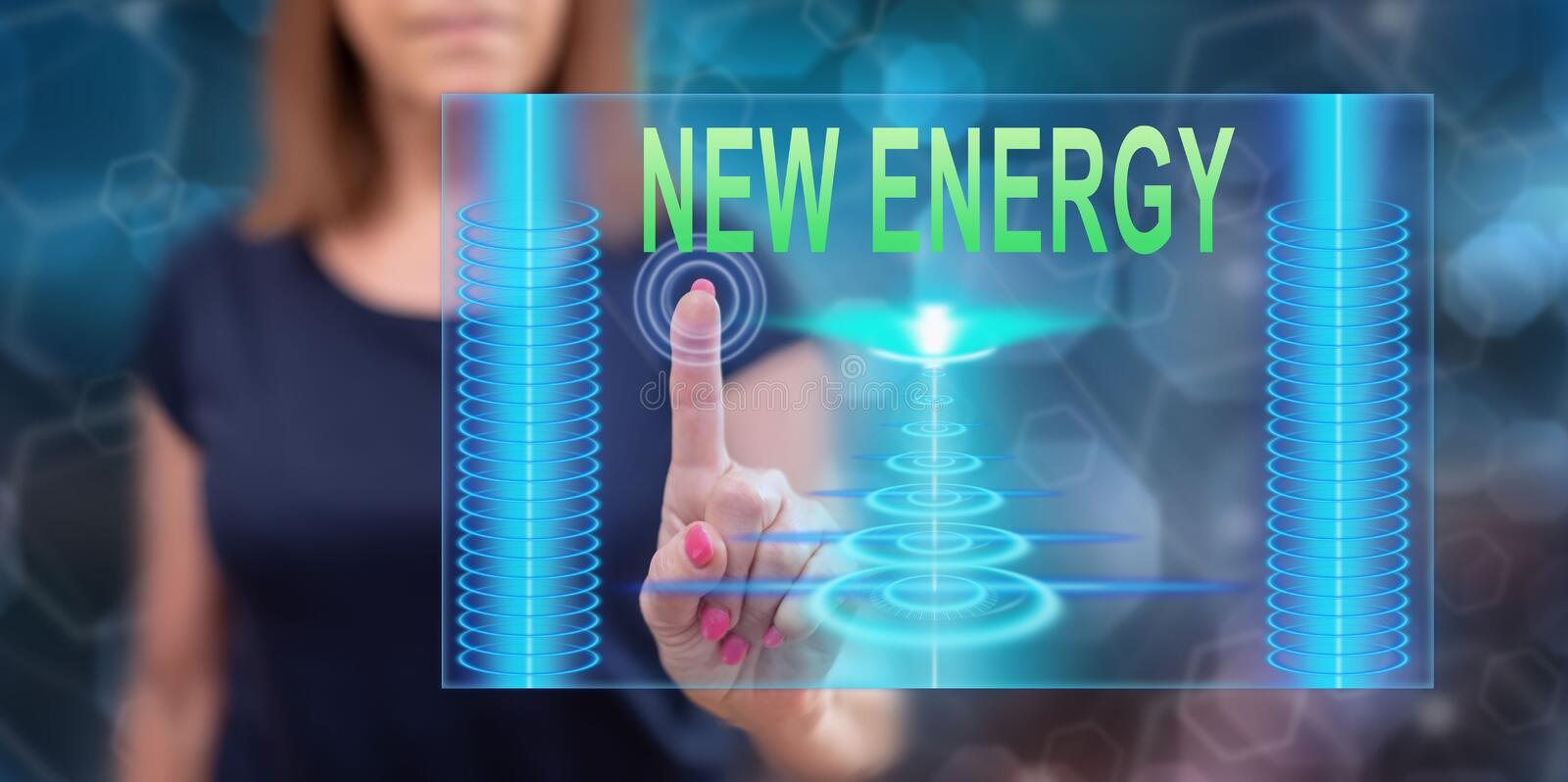 Woman touching a new energy concept stock photos