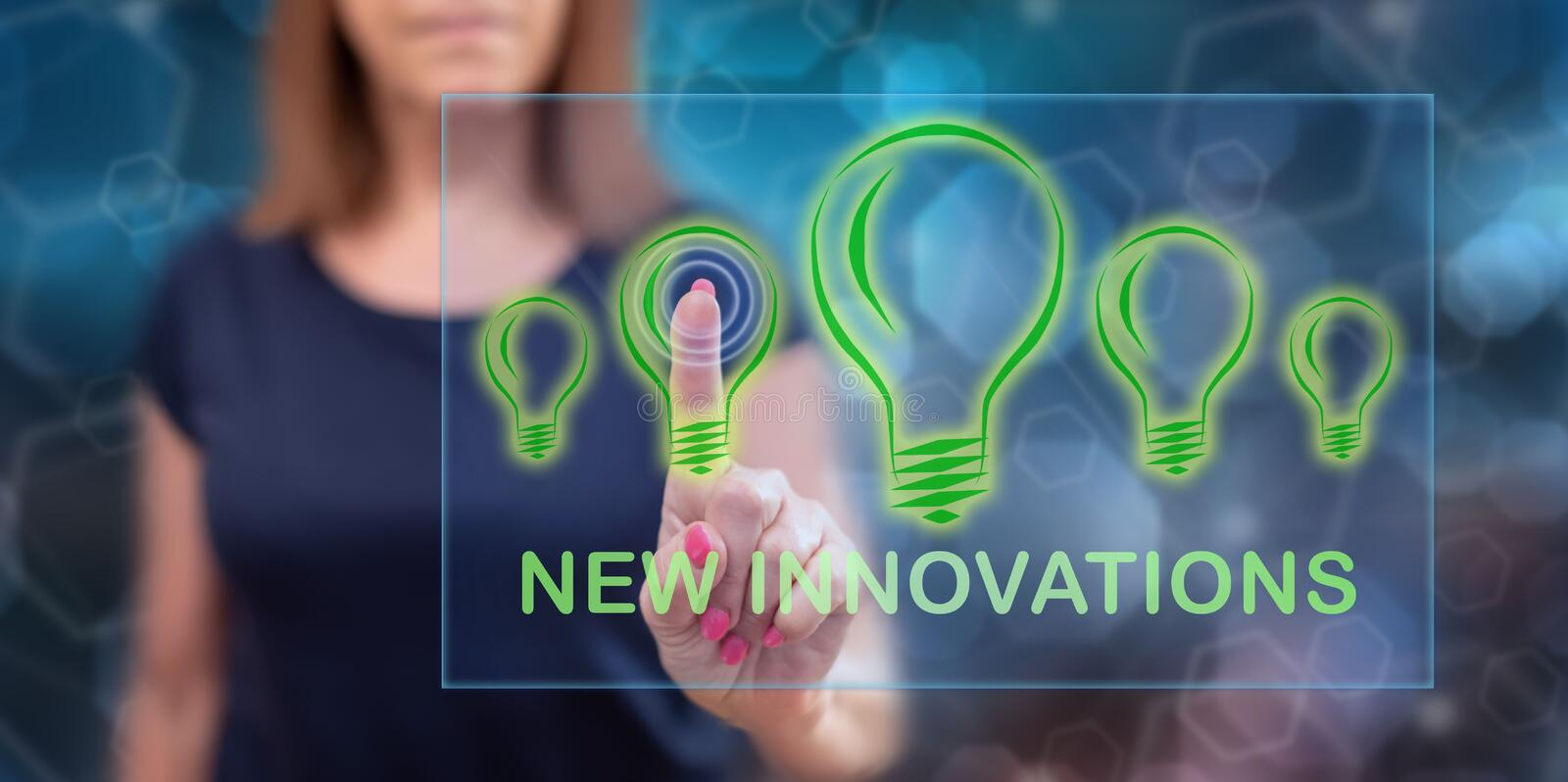 Woman touching a new innovations concept stock images