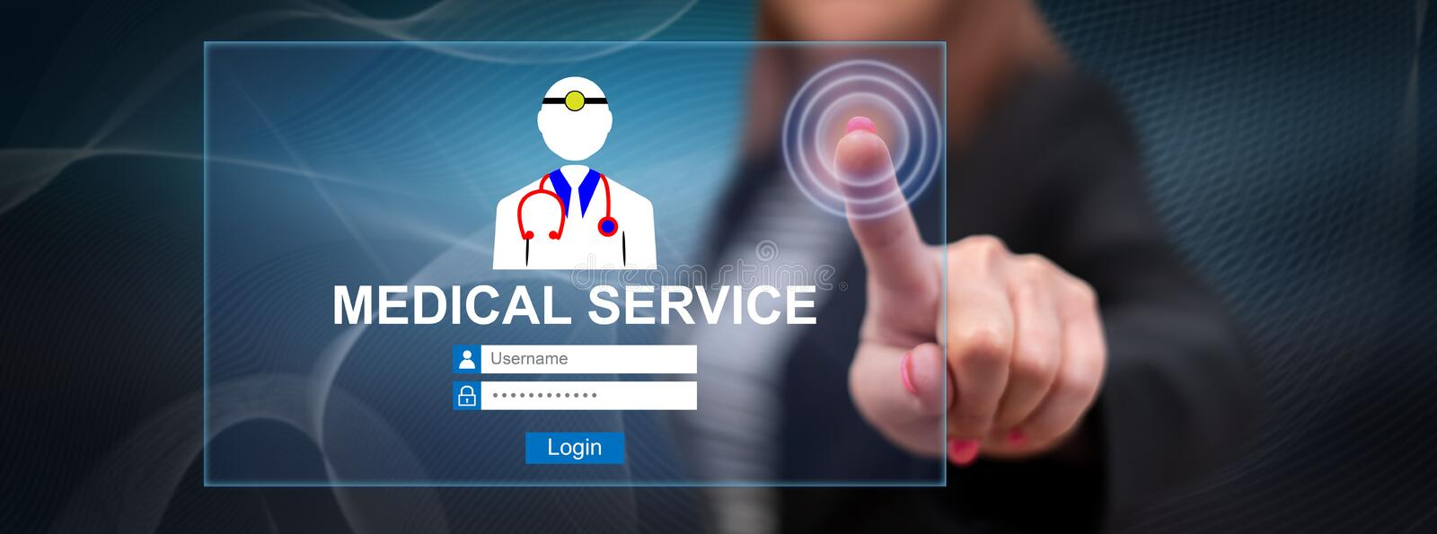 Woman touching an online medical service concept royalty free stock photography