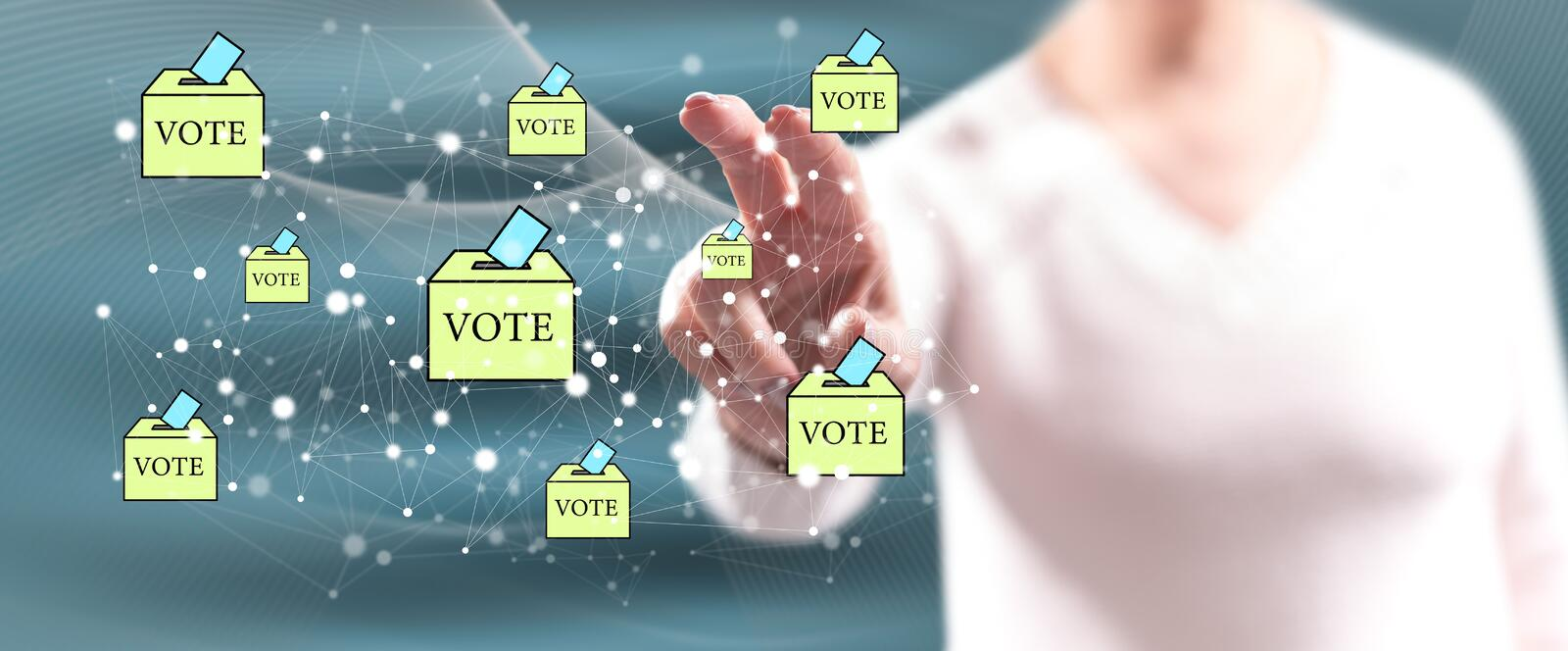 Woman touching an online voting concept stock image