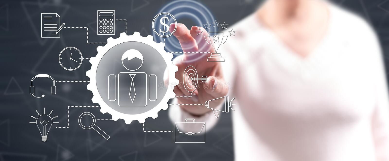 Woman touching a project planning stock photo