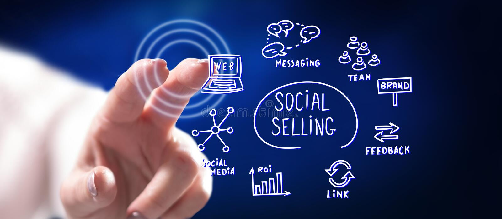 Woman touching a social selling concept stock images