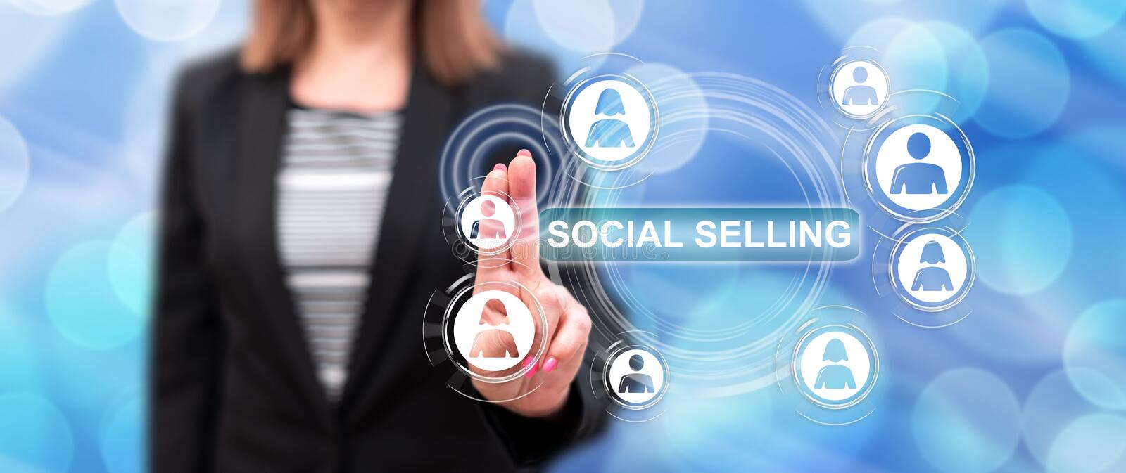 Woman touching a social selling concept stock image