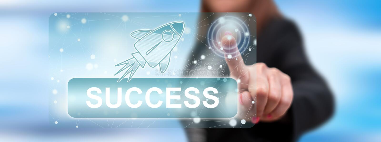 Woman touching a success concept royalty free stock image