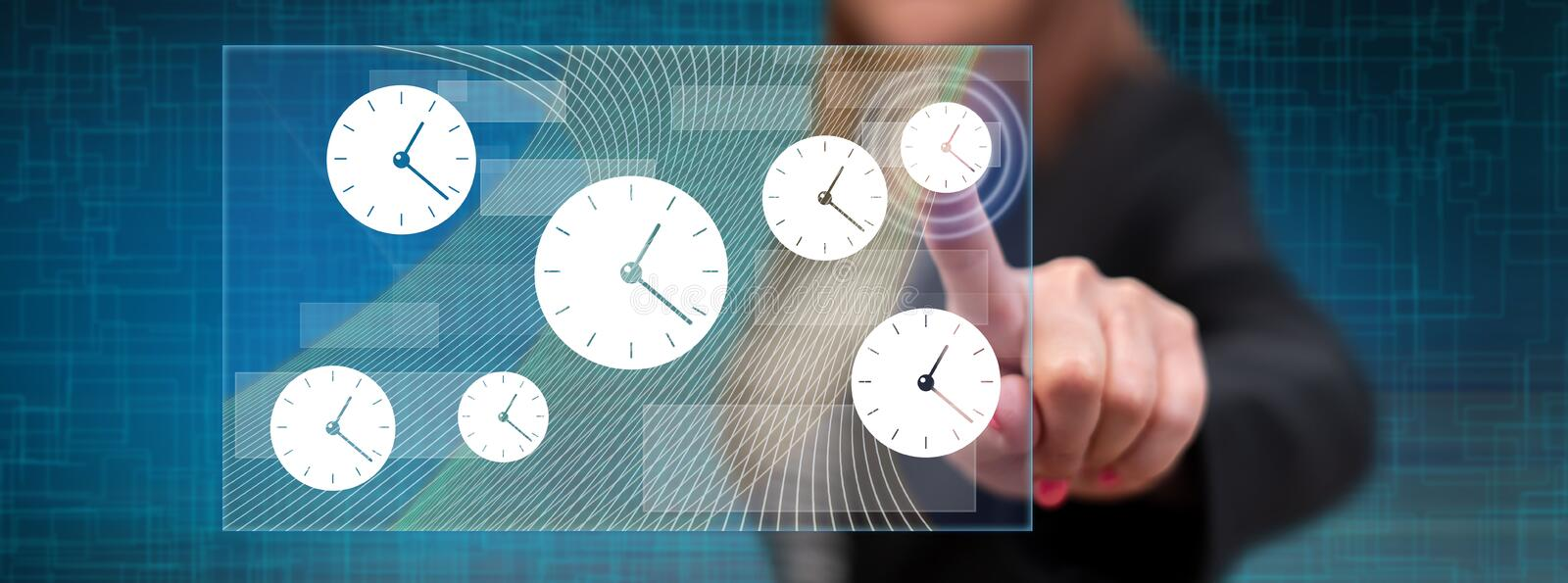 Woman touching a time management concept stock images