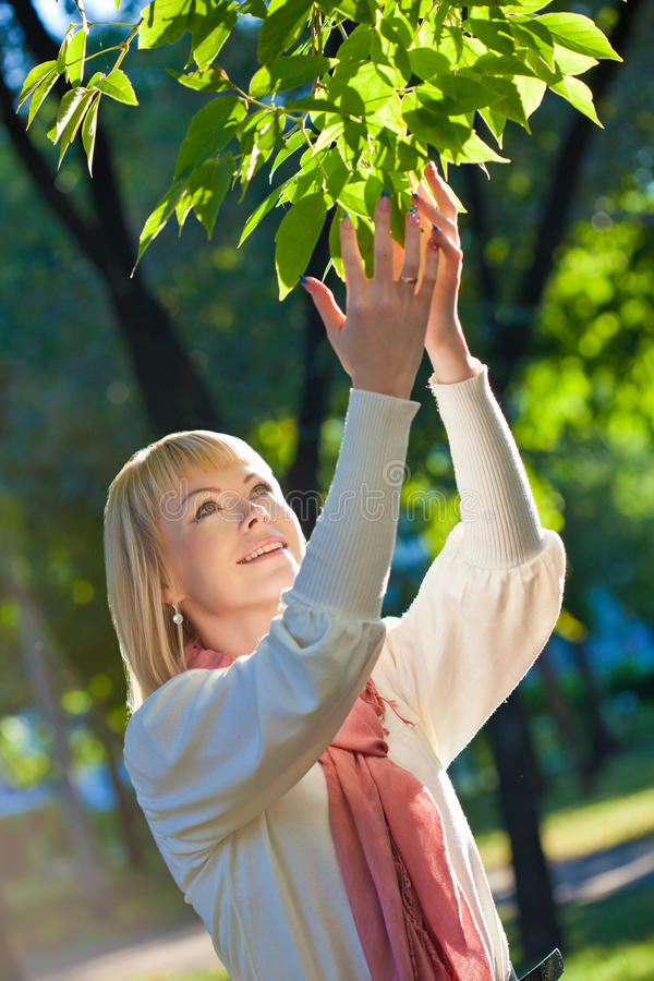 Download Woman Touching Tree Leaves Stock Photography - Image: 22713892