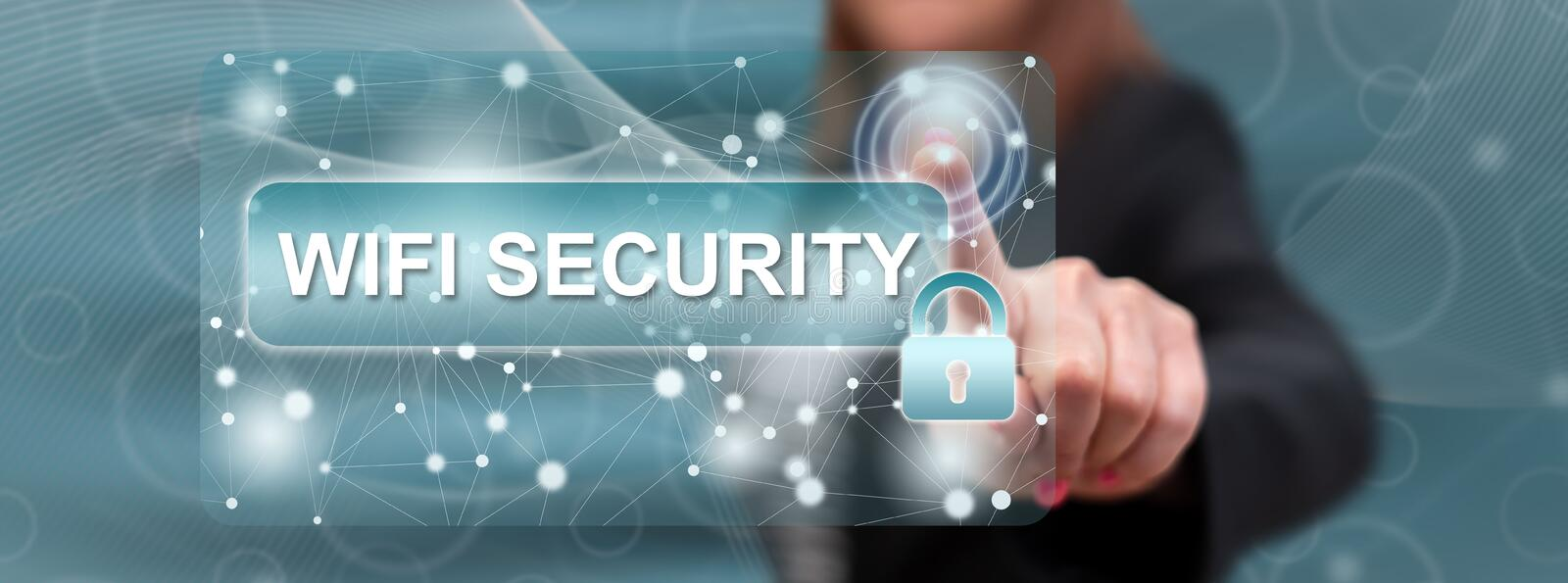 Woman touching wifi security concept. On a touch screen with her finger royalty free stock photography