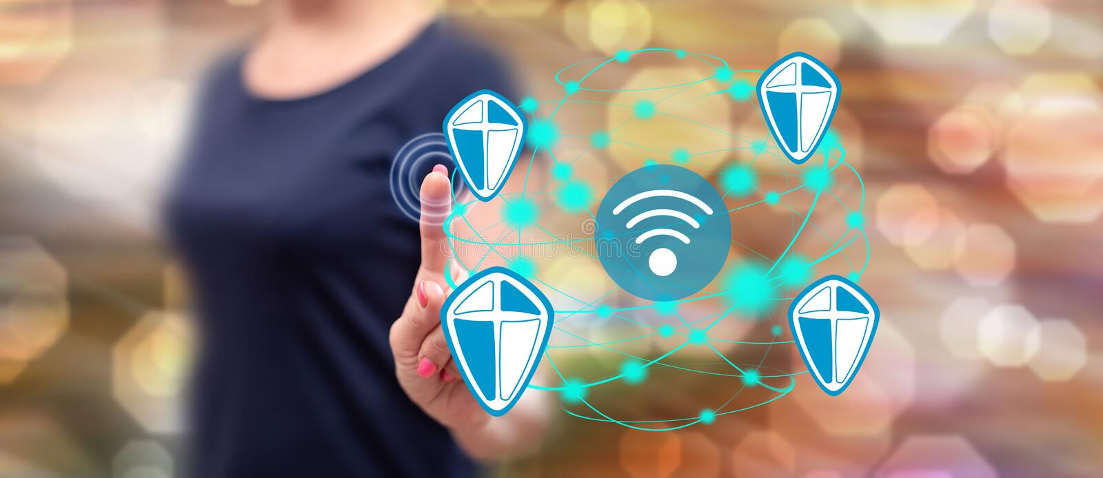 Woman touching a wifi security concept stock photos