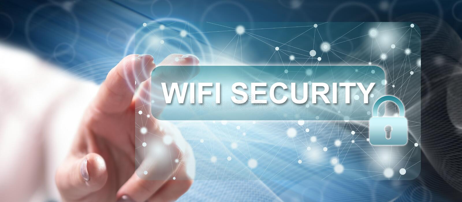 Woman touching a wifi security concept. On a touch screen with her finger stock images