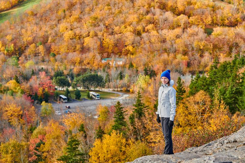 Woman tourist at Artist`s Bluff in autumn royalty free stock images