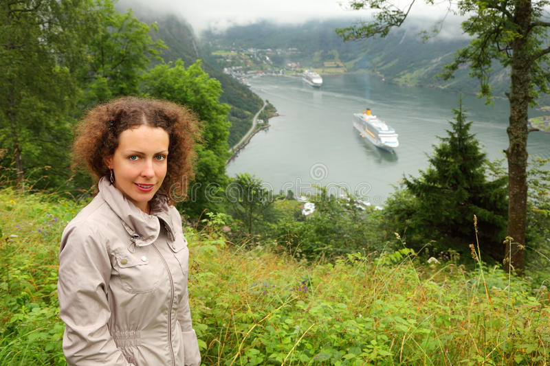 Download Woman Tourist At Background Of Passenger Liners Stock Image - Image: 26087019