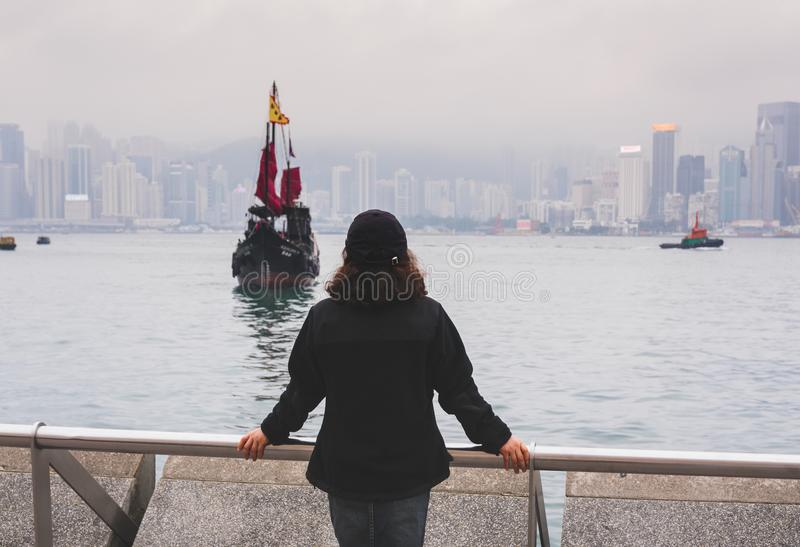 Woman tourist in Hong Kong stock images