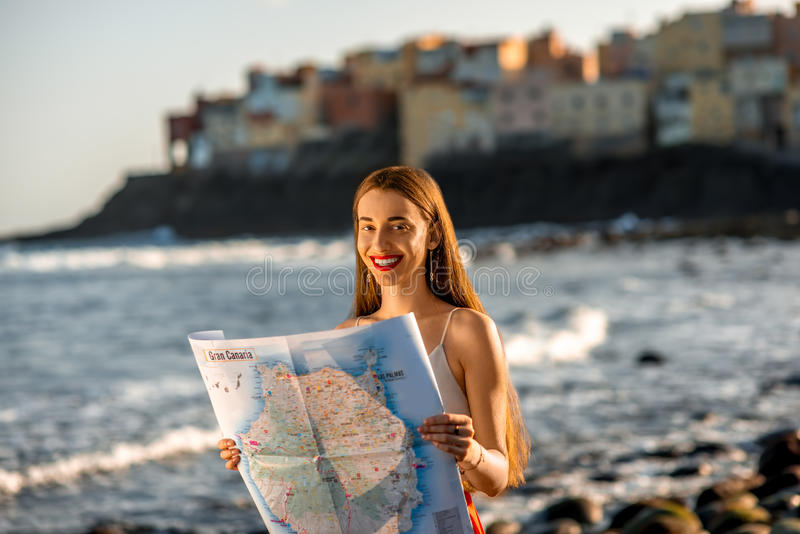 Woman With Tourist Map On Gran Canaria Island Stock Image Image of