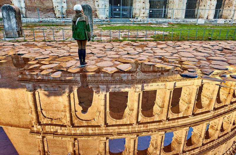 Woman tourist near in Rome, Italy royalty free stock photo