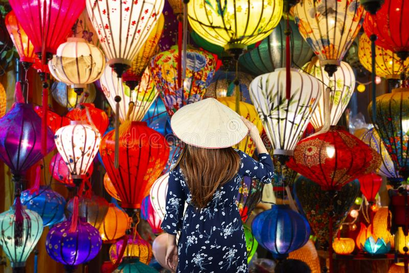 Woman tourist is sightseeing and travel in Hoi An royalty free stock photo