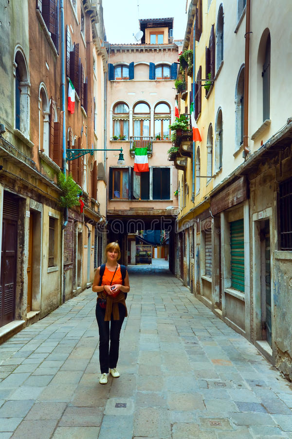 Woman Tourist In Venice Royalty Free Stock Images