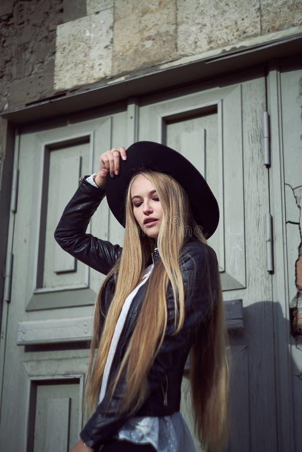 Woman tourist walking on the street, summer fashion style, travel to Europe royalty free stock photos
