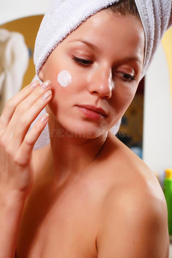 Woman in towel royalty free stock photography