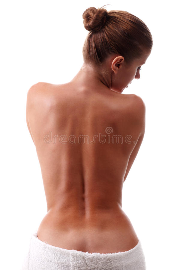 Woman in towel stock photo