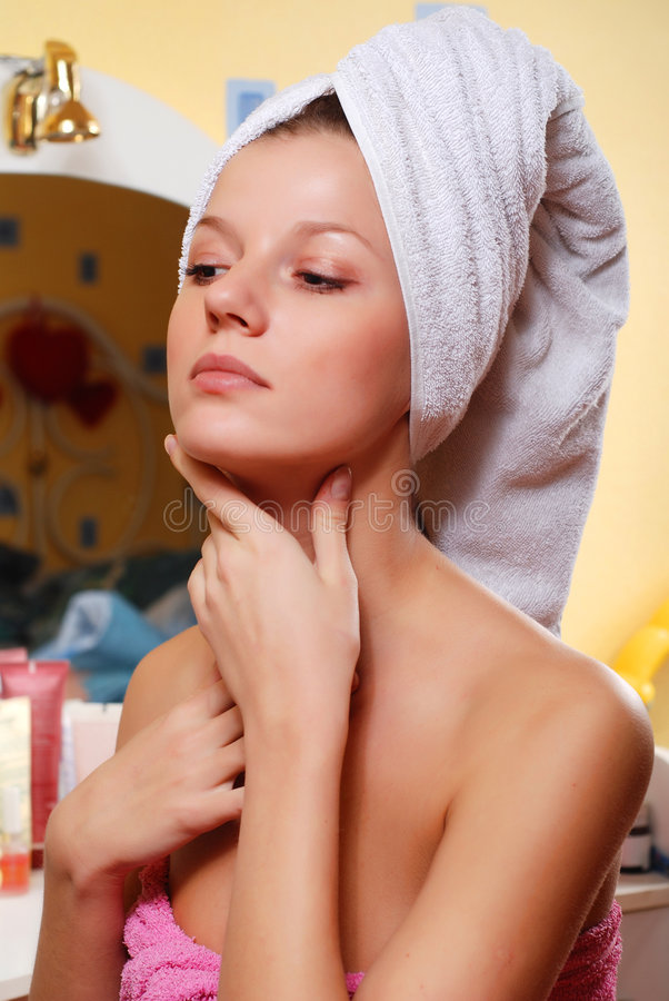 Woman in towel stock photos