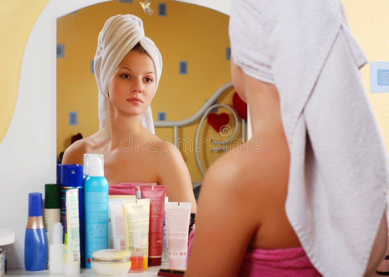 Woman in towel stock photography