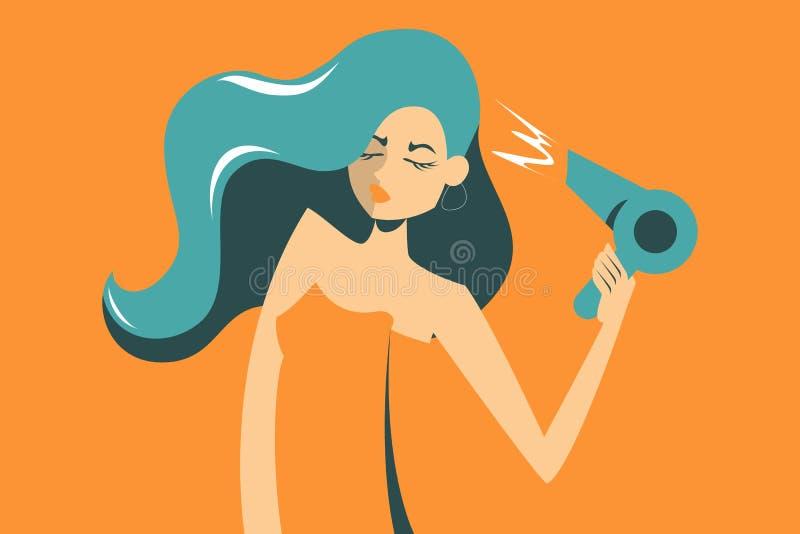 Woman in towel dry her hair using hair dryer. Beautiful female vector illustration