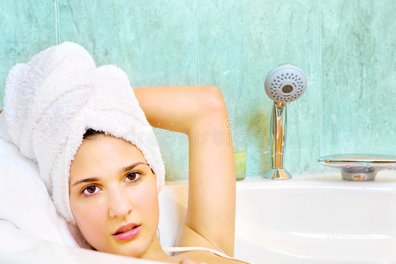 Download Woman With Towel On Head In The Bathtub Stock Photo - Image of salon, cute: 22768970