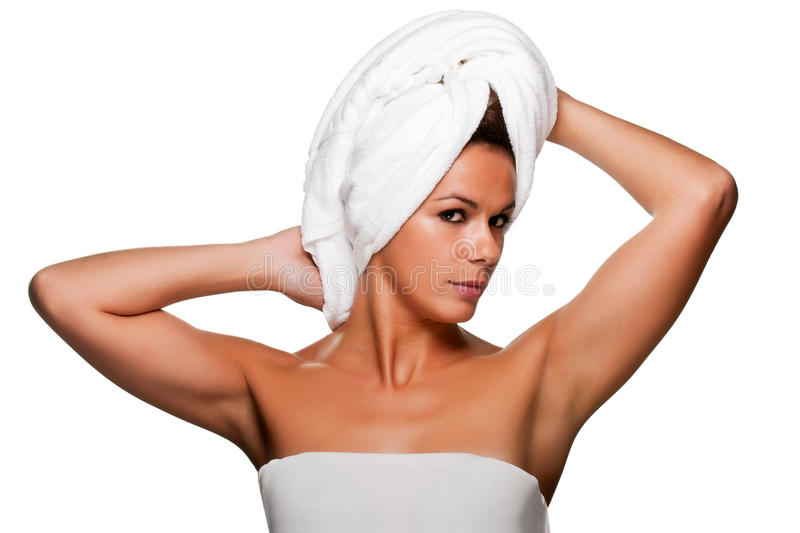 Download Woman With Towel On Her Head Royalty Free Stock Image - Image: 27684636