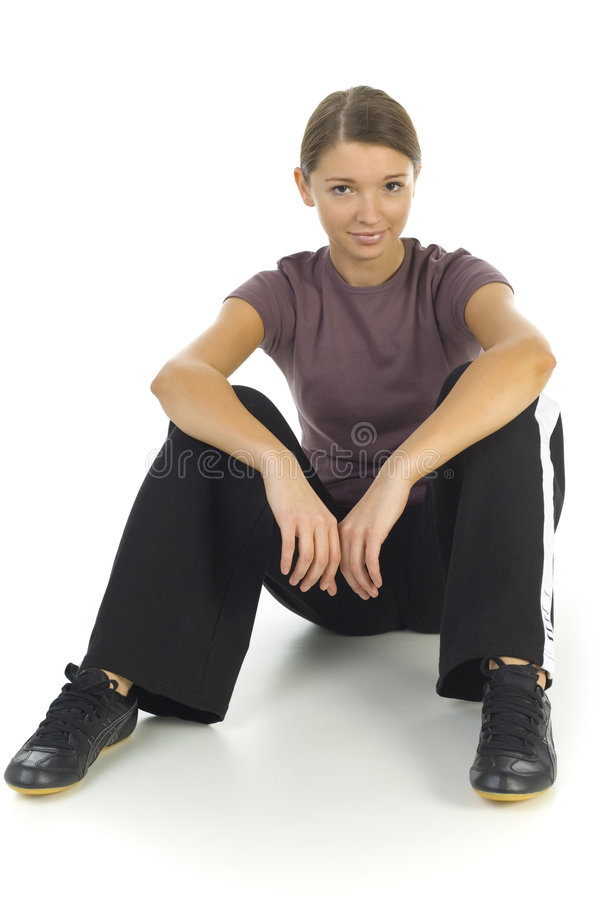 Woman in tracksuit royalty free stock photo