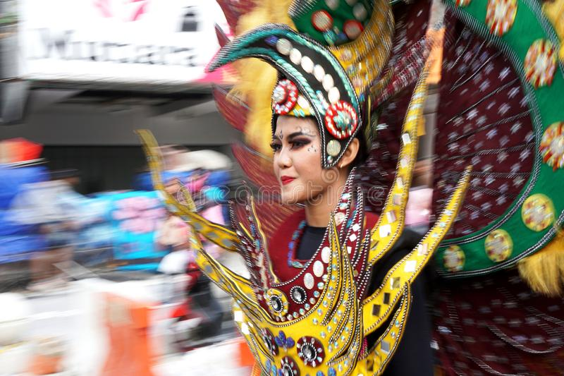 Woman in traditional costumes are parading on Malioboro street, Yogyakarta. Photos taken with panning techniques. Yogyakarta, Indonesia. September 23, 2018 stock photography