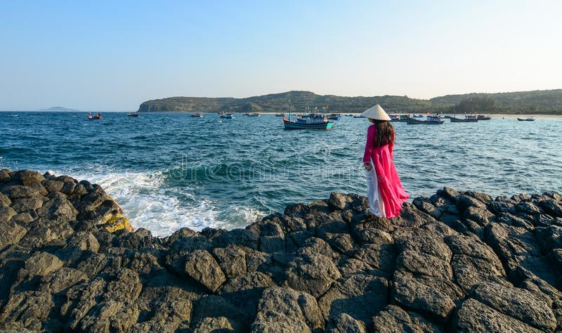 A woman looking at the sea royalty free stock images