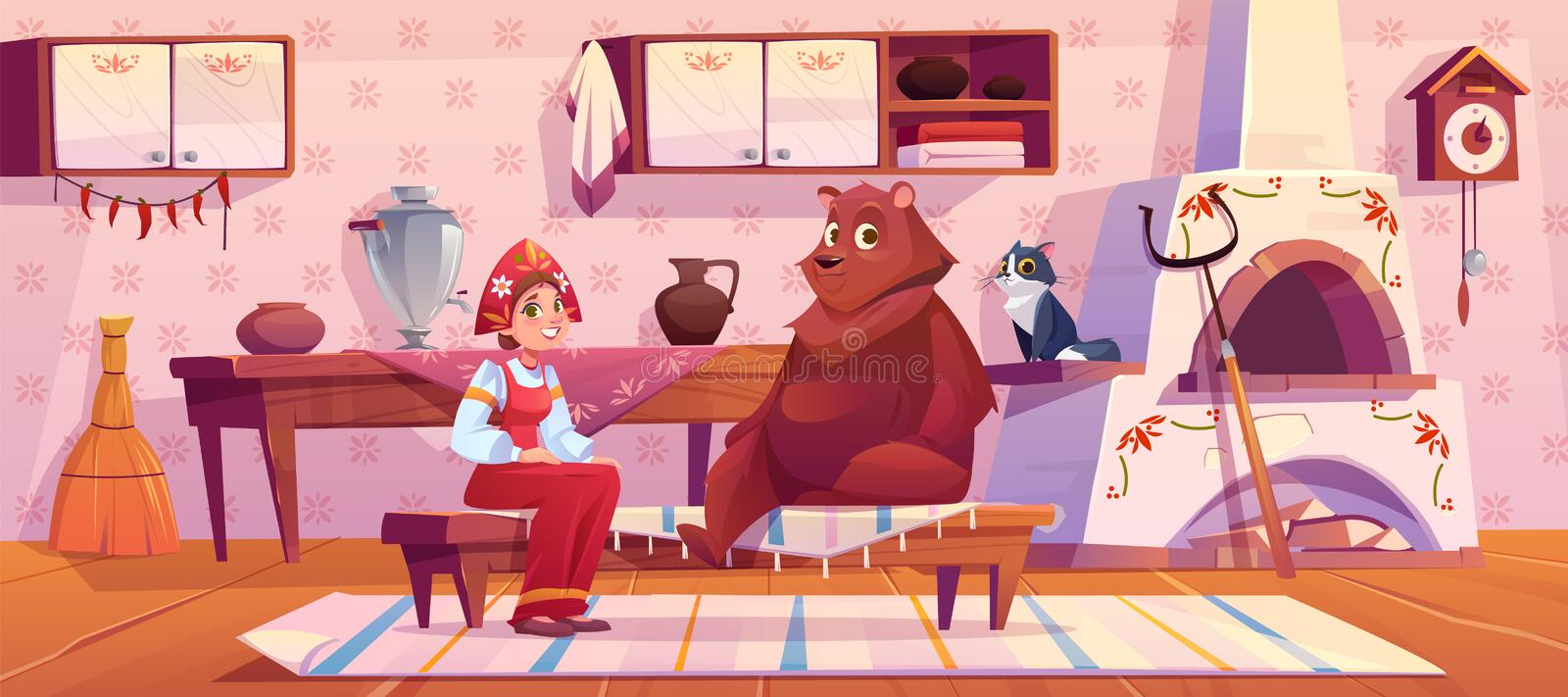 Woman in traditional old russian costume and bear. Woman in traditional old russian costume sundress and kokoshnik, bear and cat sitting on kitchen with stove stock illustration
