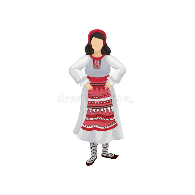 Woman in traditional Romanian clothing long white dress with ornament, red headwear and bast shoes. Folk costume. Flat. Icon of woman in traditional Romanian stock illustration
