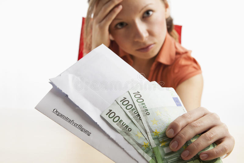 Download Woman With Traffic Ticket In German Language Stock Image - Image: 23920045