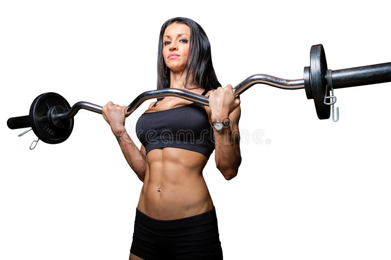 Barbell training stock photography
