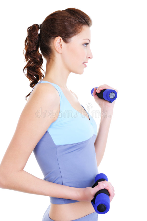 Woman Training With Dumbbells Royalty Free Stock Image