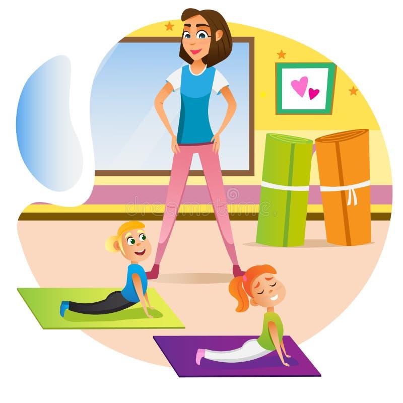 Free Woman Training Kids Boy Girl Stretch On Floor Mat Stock Photo - 176412070